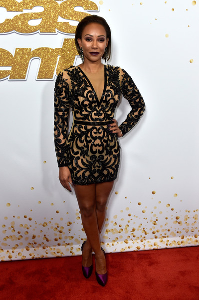 Melanie Brown styled her frock with purple platform pumps.