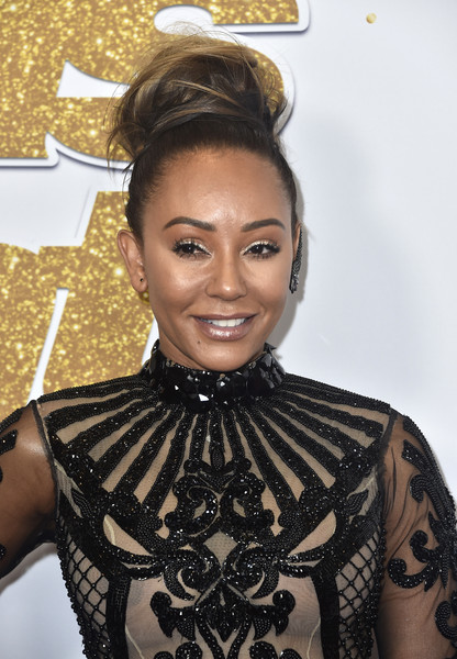 Melanie Brown rocked a big, messy top knot at the 'America's Got Talent' season 13 live show.