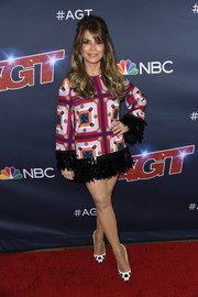 Paula Abdul looked mod in a graphic-print dress with a fringed hem and cuffs at the 'America's Got Talent' season 14 finale.