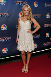 Jessica Willis worked an ultra-girly vibe in a sweetheart-neckline, spaghetti-strap LWD during the 'America's Got Talent' season 9 event.