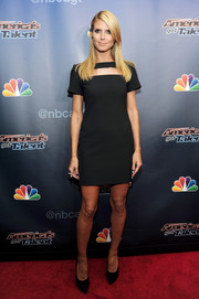 Heidi Klum's Versace cutout LBD at the 'America's Got Talent' season 9 post-show event had a stylish mod feel.