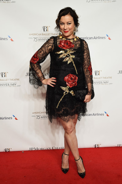 Jennifer Tilly oozed femininity in a rose-embellished lace dress during the American Ballet Theatre 75th anniversary gala.