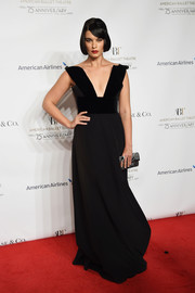 Crystal Renn went for sexy glamour in a plunging black gown at the American Ballet Theatre 75th anniversary gala.