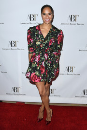 Misty Copeland charmed in a belted, floral-embroidered mini dress at the American Ballet Theatre's Holiday Benefit.