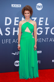 Paula Patton was hard to miss in this bright green cutout gown by Moschino at the AFI Life Achievement Award Gala.