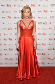 Tracy Anderson went for a dominatrix vibe in a corset gown with a leather bodice and strappy shoulders during the American Heart Association Go Red for Women event.