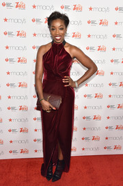 Estelle opted for a chic velvet halter gown when she attended the American Heart Association Go Red for Women event.
