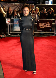 Sasha Lane exuded edgy glamour in a figure-flaunting Proenza Schouler gown with laced seams at the BFI London Film Festival screening of 'American Honey.'