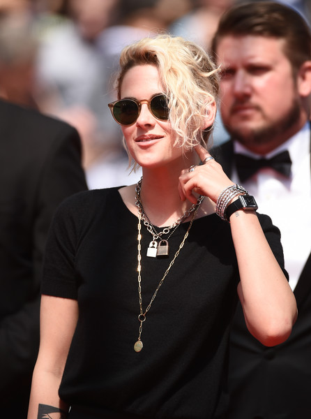 Kristen Stewart kept the sun out with a pair of Oliver Peoples x The Row cateye sunnies at the Cannes Film Festival premiere of 'American Honey.'