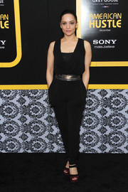 Archie Panjabi was casual-chic in a black jumpsuit cinched with a metallic belt during the 'American Hustle' NYC premiere.