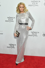 Paris Hilton went for high shine in a fully sequined column dress at the Tribeca Film Festival screening of 'The American Meme.'