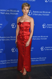 Scarlett Johansson polished off her look with red satin sandals by Stuart Weitzman.