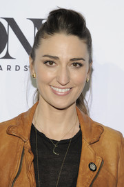 Sara Bareilles sported an edgy-casual pompadour ponytail at the Tony Awards Meet the Nominees press junket.