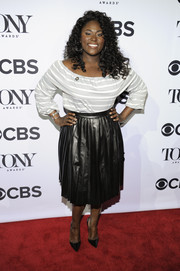 Danielle Brooks kept it laid-back yet chic in a striped peasant blouse when she attended the Tony Awards Meet the Nominees press junket.