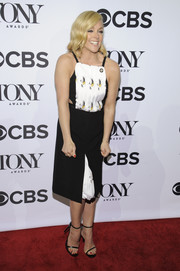 Jane Krakowski looked youthful at the Tony Awards Meet the Nominees press junket in a Bibhu Mohapatra pinafore dress with waist cutouts and a printed bodice and underskirt.