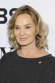 Jessica Lange attended the Tony Awards Meet the Nominees press junket wearing her hair in a curly bob.