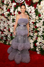Lucy Liu was all about whimsical glamour in this tiered lavender tulle gown by Yanina Couture at the American Theatre Wing Centennial Gala.