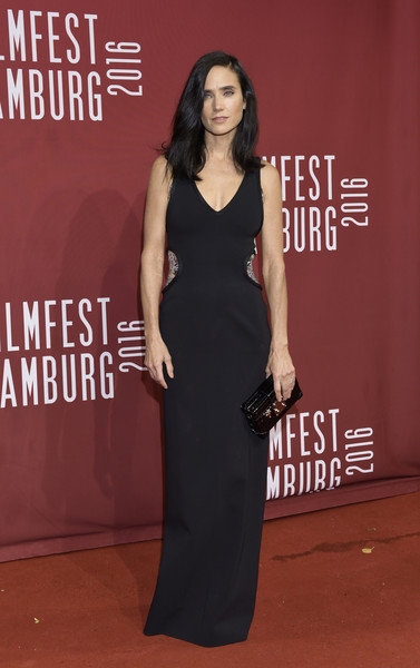 Jennifer Connelly looked simply elegant in a black Louis Vuitton gown with embellished sides during the Hamburg Film Festival premiere of 'American Pastoral.'