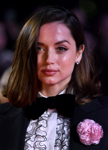 Ana de Armas Diamond Studs [knives out european premiere,hair,face,eyebrow,hairstyle,beauty,pink,chin,cheek,fashion,eye,ana de armas,odeon luxe leicester square,london,england,bfi london film festival,knives out european premiere]
