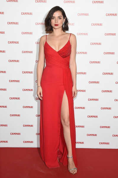 Ana de Armas Evening Sandals [campari red diaries 2019,fashion model,clothing,dress,shoulder,cocktail dress,red,red carpet,carpet,gown,fashion,dress,diamond earrings,ana de armas,norman silverman,jimmy choo,heels,clutch,versace,premiere event]
