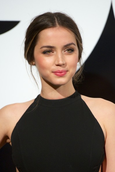 Ana de Armas Loose Bun [hair,face,hairstyle,eyebrow,lip,beauty,dress,chin,skin,cocktail dress,ana de armas,gq men of the year award,award,madrid,spain,ritz hotel,gq men of the year]