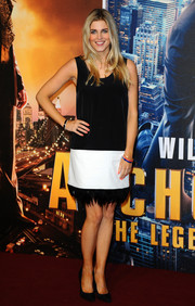 Ashley James' black-and-white feather-hem shift dress at the 'Anchorman 2' premiere was a very stylish choice.