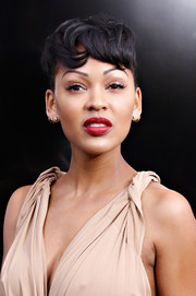 Meagan Good sported dramatic bangs at the 'Anchorman 2' premiere in NYC.