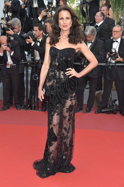 Andie MacDowell Sheer Dress [the killing of a sacred deer,fashion model,flooring,fashion,shoulder,carpet,gown,girl,dress,haute couture,red carpet,andie macdowell,cannes,france,red carpet arrivals,cannes film festival,premiere,palais des festivals]