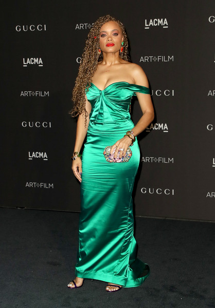 Andra Day Beaded Clutch [dress,clothing,fashion model,shoulder,hair,gown,strapless dress,cocktail dress,green,hairstyle,arrivals,andra day,catherine opie,guillermo del toro,california,los angeles,lacma,gucci,lacma art film gala]