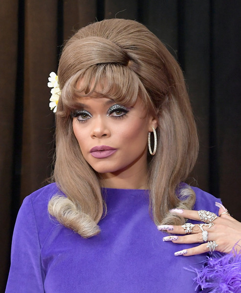 Andra Day Bouffant [red carpet,hair,face,hairstyle,blond,beauty,purple,electric blue,layered hair,hair coloring,eyelash,andra day,grammy awards,staples center,los angeles,california,annual grammy awards]