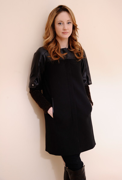 Andrea Riseborough Wool Coat