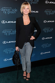 Sara Paxton paired her acid washed jeans and leather Balenciaga bag with a sharp blazer.
