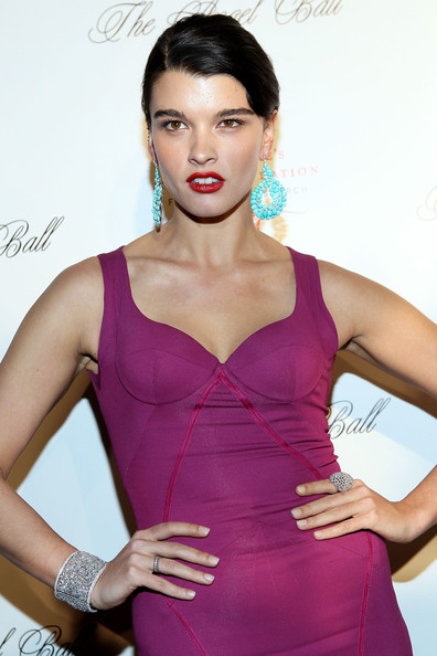 More Pics of Crystal Renn Statement Ring (1 of 4) - Decorative Rings Lookbook - StyleBistro [fashion model,clothing,shoulder,cocktail dress,beauty,model,magenta,dress,hairstyle,fashion,cipriani wall street,new york city,angel ball,crystal renn]