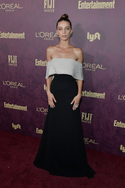 Angela Sarafyan Off-the-Shoulder Dress [dress,clothing,shoulder,strapless dress,red carpet,carpet,gown,premiere,fashion,a-line,arrivals,angela sarafyan,los angeles,california,sunset tower,entertainment weekly,loreal paris hosts,party,loreal paris,pre-emmy party]