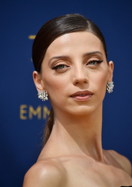 Angela Sarafyan Ponytail [hair,face,eyebrow,lip,chin,forehead,hairstyle,skin,cheek,nose,arrivals,angela sarafyan,emmy awards,70th emmy awards,microsoft theater,los angeles,california]