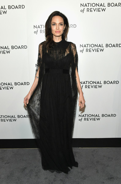 Angelina Jolie Lace Dress [little black dress,fashion model,dress,flooring,shoulder,fashion,gown,formal wear,cocktail dress,catwalk,new york city,cipriani 42nd street,national board of review annual awards gala,angelina jolie]