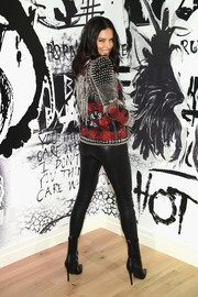 Adriana Lima went mega edgy in this stud-and-chain biker jacket at theVictoria's Secret x Balmain celebration.