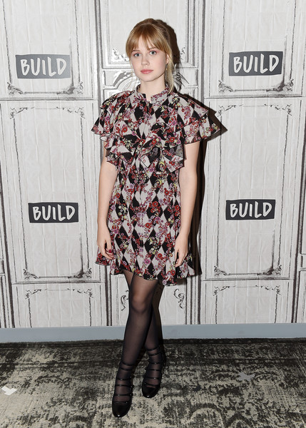 Angourie Rice Print Dress [clothing,dress,fashion,footwear,hairstyle,leg,street fashion,tights,joint,blond,celebrities,actress,new york city,angourie rice,build studio,build series,every day]