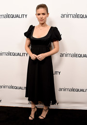 Kate Mara looked demure in a Hiraeth LBD with puffed sleeves at the Animal Equality's Inspiring Global Action Gala.
