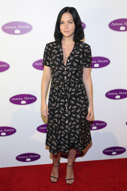 Leigh Lezark kept it simple in a printed shirtdress at the Animal Haven 50th anniversary gala.
