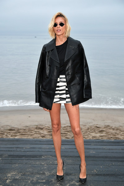 Anja Rubik Leather Jacket [clothing,black,leather,fashion,street fashion,outerwear,eyewear,jacket,leather jacket,sunglasses,anja rubik,call,malibu,california,saint laurent mens spring summer 20 show]