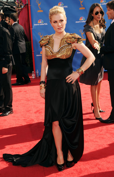Anna Paquin Evening Dress [red carpet,carpet,clothing,dress,flooring,premiere,hairstyle,event,fashion,fashion model,arrivals,anna paquin,primetime emmy awards,california,los angeles,nokia theatre l.a. live,annual primetime emmy awards]
