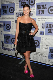 Heather Tom showed off her enviable figure in a sparkly little black dress an an event in New York City.