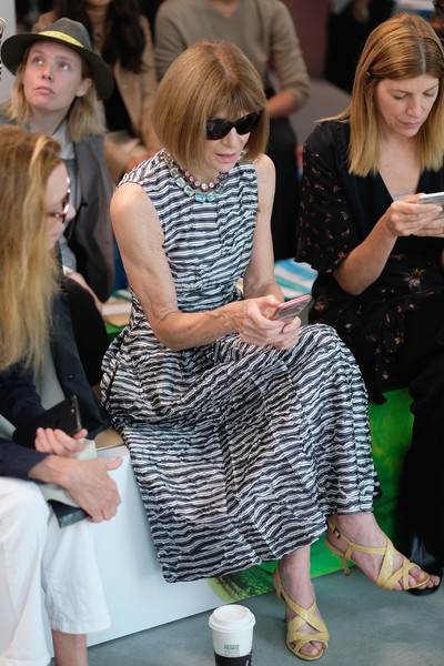 Anna Wintour Print Dress [michael kors collection spring 2019 runway show,fashion,lady,event,blond,leg,footwear,design,eyewear,street fashion,dress,anna wintour,front row,new york city,pier 17]