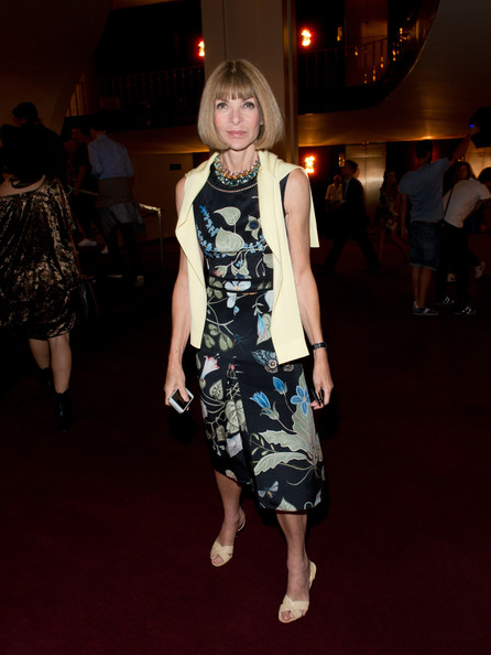 Anna Wintour Print Dress [fashion,clothing,dress,fashion model,fashion show,fashion design,runway,footwear,leg,flooring,new york city,mercedes-benz fashion week,fashion show,opening ceremony,opening ceremony - arrivals,anna wintour]