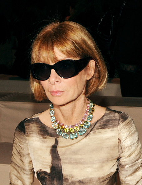 Anna Wintour Bob [mbfw,eyewear,hair,sunglasses,hairstyle,cool,glasses,blond,lip,vision care,bangs,fiji water,anna wintour,donna karan collection - front row,711 greenwich street,new york city,vogue magazine,fashion show,donna karan collection spring 2011,mercedes-benz fashion week]