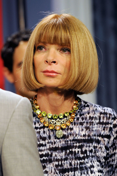 Anna Wintour Diamond Statement Necklace [2010 fashion,hair,hairstyle,blond,bangs,layered hair,bob cut,hair coloring,long hair,feathered hair,brown hair,anna wintour,editor-in-chief,city hall,american,blue room,new york city,night out kick-off,press conference]