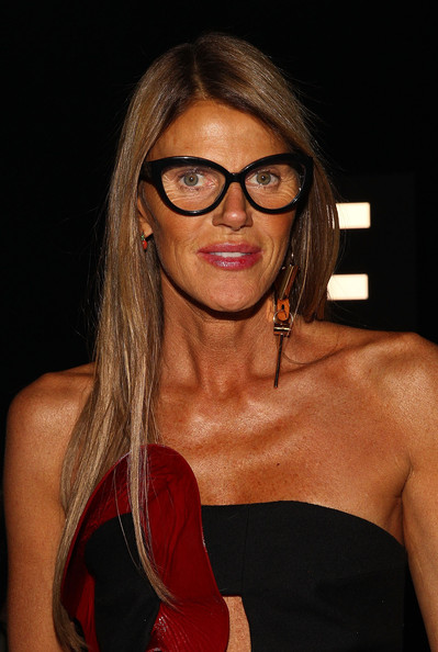 Anna dello Russo Dangle Decorative Earrings [eyewear,hair,glasses,beauty,hairstyle,muscle,lip,brown hair,shoulder,sunglasses,marc by marc jacobs,anna dello russo,front row,pier 94,new york city,mercedes-benz fashion week]
