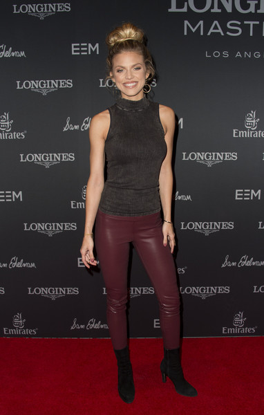AnnaLynne McCord Ankle Boots [clothing,carpet,red carpet,fashion,footwear,joint,shoulder,leggings,dress,premiere,arrivals,annalynne mccord,masters,valerie macon,los angeles,long beach,california,longines,afp,longines masters gala]