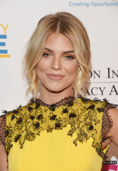 AnnaLynne McCord Loose Bun [hair,hairstyle,blond,yellow,eyebrow,chin,shoulder,long hair,hair coloring,dress,arrivals,annalynne mccord,sofitel los angeles,california,beverly hills,creative coalition,television industry advocacy awards]